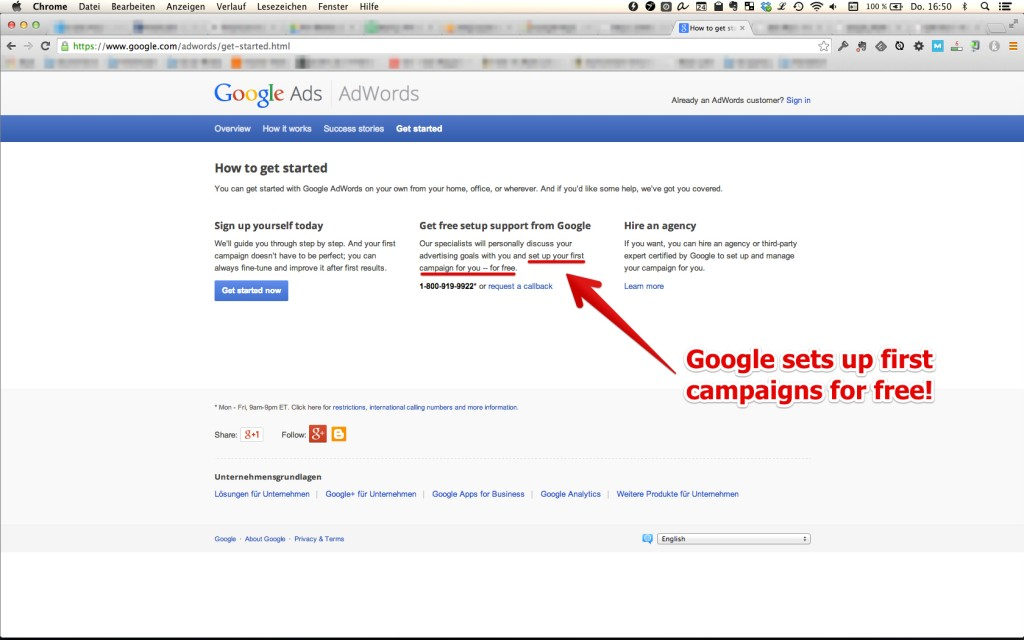 Google AdWords free campaign 1024x640 Startup #4: Stratvisory   Launching a successful agency in 5 days