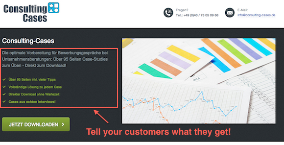 tell your customers what they get Startup #3: Consulting Cases   founded 2 years ago, now making 1.000 Dollars a month