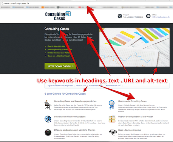 use keywords at right places Startup #3: Consulting Cases   founded 2 years ago, now making 1.000 Dollars a month