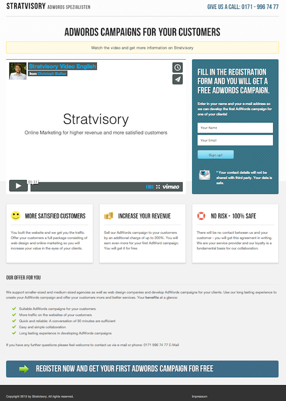 website of stratvisory Startup #4: Stratvisory   Launching a successful agency in 5 days